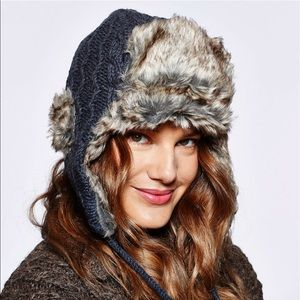 Nirvana designs cable knit ear flap hat